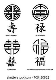 Feng Shui Signs. China Signs. Longevity, Prosperity, Happiness, Blessing, Good Fortune, Good Luck
