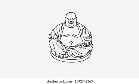 Feng Shui talisman black background. Hotei Happy Laughing Buddha. Vector line outline illustration