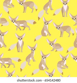 Fennec Fox on yellow background pattern. Animal seamless pattern design.