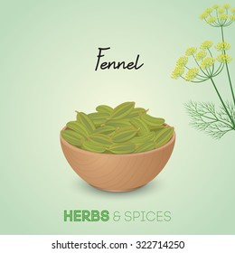 Fennel seeds in wooden bowl