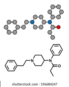 Fentanyl (fentanil) opioid analgesic drug, chemical structure. Conventional skeletal formula and stylized representation, showing atoms (except hydrogen) as color coded circles.