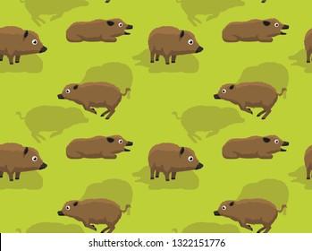Feral Hog Running Cartoon Background Seamless Wallpaper
