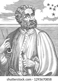 Ferdinand Magellan (1480-1521) portrait in line art vector illustration. He was a Portuguese explorer who organised Spanish expedition to East Indies to circumnavigate the earth.
