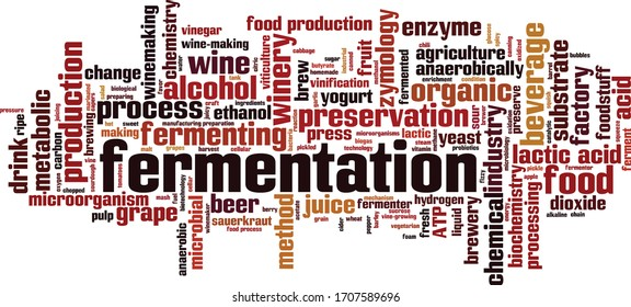Fermentation word cloud concept. Collage made of words about fermentation. Vector illustration
