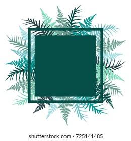Fern frond bracken square frame vector illustration. Blue turquoisen tropical forest plant leaves background. Detailed bracken herbs image, fern frond grass border for text, rainforest leaves.