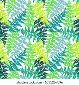 Fern frond herbs, tropical forest plant leaves seamless vector background illustration. Bracken foliage, jungle leaves, tropical fern forest grass herb seamless sea green teal colors background.