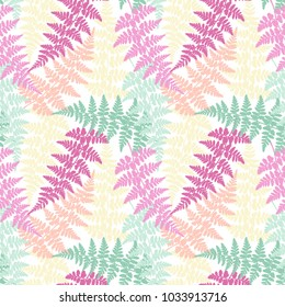 Fern frond herbs, tropical forest plant leaves seamless vector fabric design. Lovely herbal pattern. Forest growing plant jungle leaves tropical fern grass herb seamless fabric background.