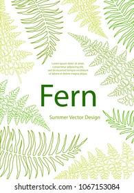Fern frond tropical leaves frame vector illustration. Bush plant leaves decoration on white background. Green bracken and new zealand fern tropical forest herbs, fern frond grass outlines card border.