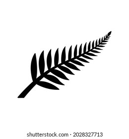 Fern glyph icon. Simple solid style. Leaf, logo, nz, kiwi, maori, silhouette, bird, sign, new zealand symbol concept design. Vector illustration isolated on white background. EPS 10