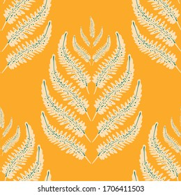 Fern leaves vector seamless pattern background. Stylized forest plant frond orange backdrop. Hand drawn botanical foliage design. Stylish all over print for fashion print or hot vacation concept