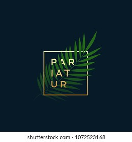 Fern or Palm Leaf In a Golden frame with Modern Typography. Abstract Vector Sign, Symbol or Logo Template. Elegant Emblem or Card Design. On Dark Blue Background.