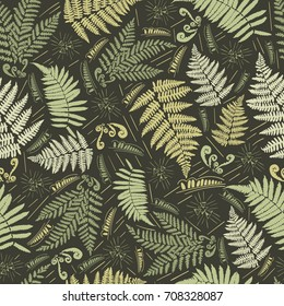 Fern seamless pattern. Leaves of the fern. Pattern for the fabric. Fern print. Trend autumn pattern. Cloth shirt pattern.