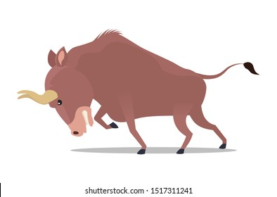 Ferocious bison. Vector illustration, flat design style. Isolated on a white background.