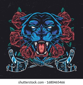 Ferocious black panther head with roses and crossed tattoo machines in vintage style isolated vector illustration