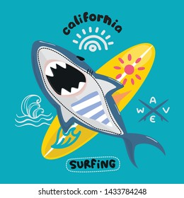 Ferocious shark attacks with surfboard on isolated backgground illustration vector.