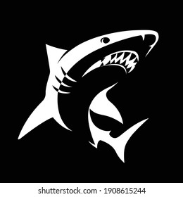 Ferocious shark vector isolated on white. Angry shark or salt water fish sign or symbol.