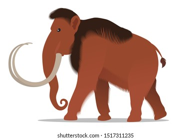 Ferocious woolly mammoth. Vector illustration, flat design style. Isolated on a white background.
