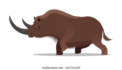 Ferocious woolly rhino. Vector illustration, flat design style. Isolated on a white background.