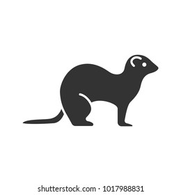 Ferret glyph icon. Polecat. Silhouette symbol. Negative space. Vector isolated illustration