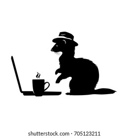 Ferret with hat typing news and drinking coffee. Black &White Logo.