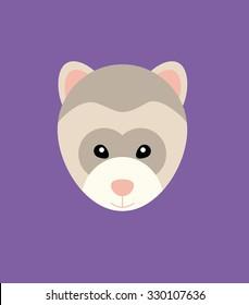 Ferret Head Animal Vector