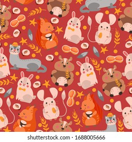 Ferret, squirrel, hare, hamster character seamless pattern, banner. Design wildlife, nature, rodent, flat vector illustration. Wrapping design paper, packaging for forest animal life item