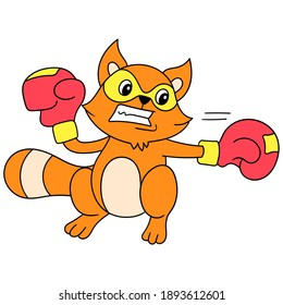 ferret stickers are practicing boxing vigorously, character cute doodle draw. vector illustration