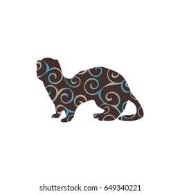 Ferret weasel ermine mammal color silhouette animal