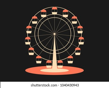 Ferris wheel. Attraction from the amusement park. Retro style, typographical design. Vector illustration