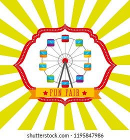 ferris wheel carnival fun fair retro label