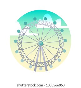 Ferris wheel flat icon. Eye London, England landmark concept. Illustration for web page, mobile app, banner, social media. UI/UX and GUI user interface. Vector clipart, template.
