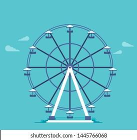Ferris wheel in the flat style vector