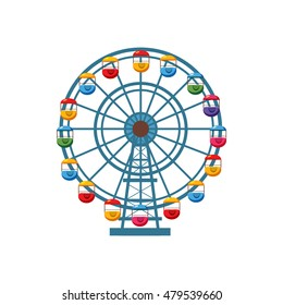 Ferris wheel icon in cartoon style isolated on white background. Attraction symbol vector illustration