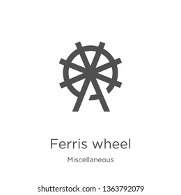 ferris wheel icon. Element of miscellaneous collection for mobile concept and web apps icon. Outline, thin line ferris wheel icon for website design and mobile, app development