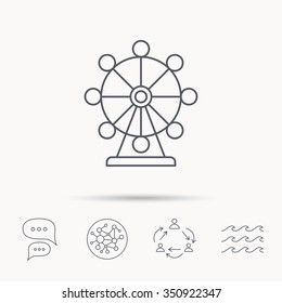 Ferris wheel icon. Entertainment park sign. Global connect network, ocean wave and chat dialog icons. Teamwork symbol.