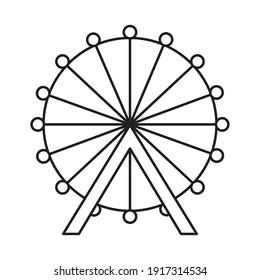 ferris wheel icon over white background, line style, vector illustration