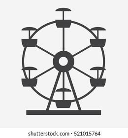 Ferris Wheel Icon Silhouette. Entertainment Round Attraction. Vector Illustration EPS10