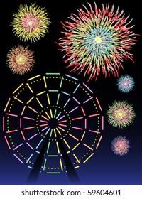 Ferris wheel lights and fireworks