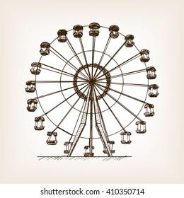 Ferris wheel sketch style vector illustration.