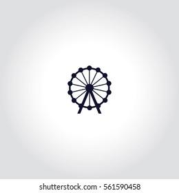 Ferris wheel Vector Icon.
