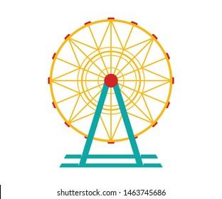 Ferris wheel Vector Icon. Ferris wheel icon in cartoon style isolated on white background