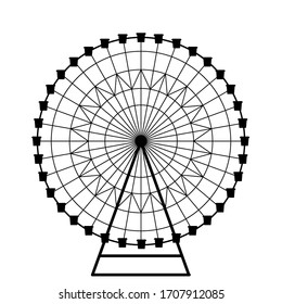 Ferris wheel vector, isolated on a white background. Big wheel, silhouette of the structure in the Park. illustration