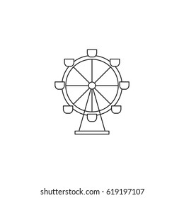 Ferris wheel vector thin line icon. Black on white isolated symbol. Logo template, element for amusement park products, circus brochure, excursion banner. Simple mono linear modern design.