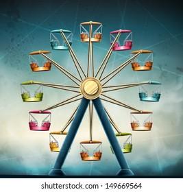 Ferris wheel, vintage grunge background. Eps 10