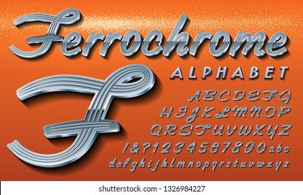 Ferrochrome is a classic retro automotive style script alphabet, reminiscent of American cars from the 1950s through 1970s. This font has highly detailed chrome metallic effects.