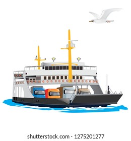 Ferry Boat isolated on white background. It is taking cars and trucks crossing the harbor. Vector, illustration.