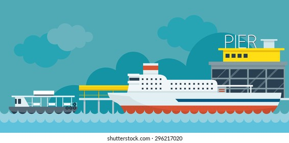 Ferry Boat Pier Flat Design Illustration Icons Objects, Side View,  Station Concept