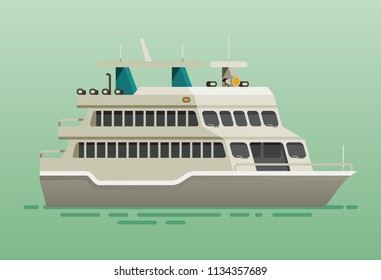 Ferry boat ship flat style vector illustration