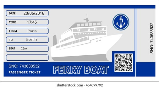 Ferry Boat Ticket Cruise Travel Ship Stock Vector (Royalty Free ...