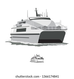ferry boat, vector